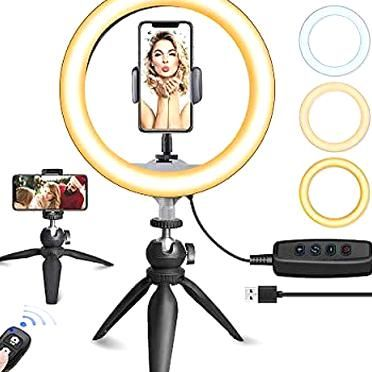 10 LED Ring Light with Tripod Stand & Phone Holder, UBeesize Dimmable Desk Makeup Ring Light, Perfect for Live Streaming & YouTube Video, Photography, 3 Light Modes and 11 Brightness Levels