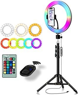10.2 Selfie Ring Light with Tripod for iPhone 63 Tripod Stand & Phone Holder, 29 Colors RGB Circle Light with Remote for Makeup, YouTube Video, Photography, Compatible with iPhone & Android (Black)