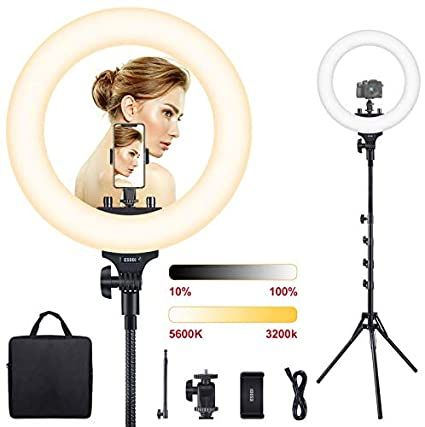 """AFI 16"""" Selfie Ring Light with 3 Color Modes 79"""" Extendable Tripod Stand Phone Camera Holder, 320 Bulbs 6500K 10 Brightness Dimmable LED Carrying Bag for Photography Makeup Live YouTube Video TikTok"""