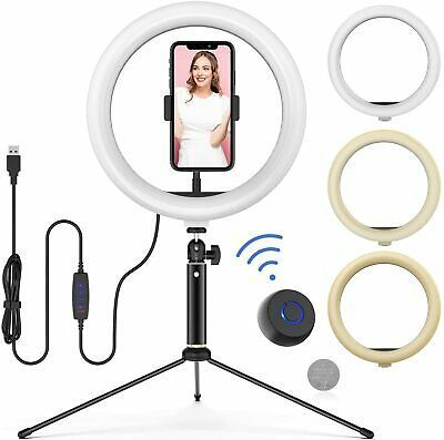 """10"""" LED Ring Light with Tripod Stand Adjustable & Phone Holder, Bluetooth Remote Shutter for Makeup/Live Stream/YouTube Video/Photography, Compatible with iOS/Android"""